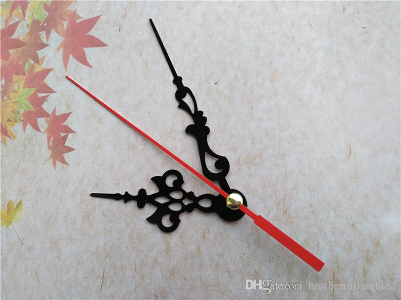 Partihandel Black Metal Clock Hands for Mechanism med Red Second Hand DIY Tillbehör
