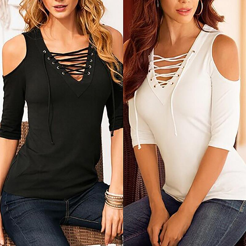 90bf18118fc 2019 Wholesale ZANZEA Sexy Blusas 2017 Women Casual Lace Up Hollow Out V  Neck Blouse Off Shoulder Half Sleeve Slim Summer Tops Plus Size Shirts From  Hoeasy