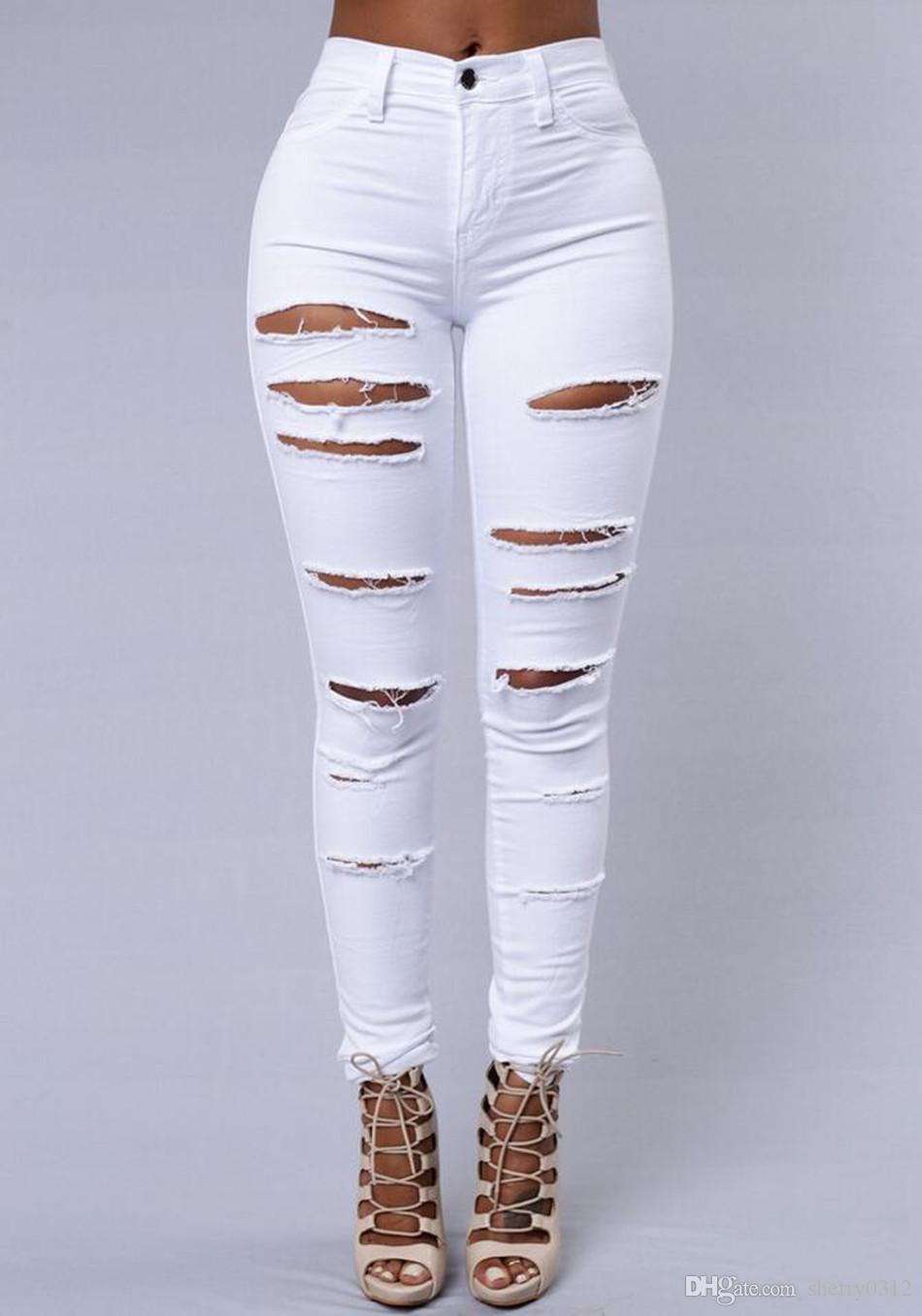 2019 New Jeans For women Boyfriend Pencil Skinny Denim Jeans Womens High Waist Ripped Black Jeans Big Girls Casual Legging Skinny trousers