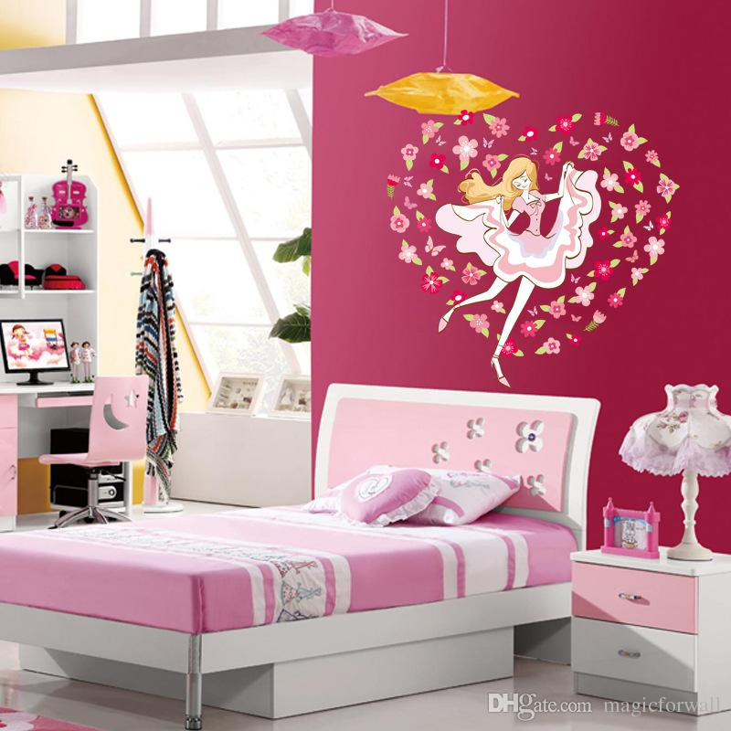 Colorful Flowers around Dancing Girl Wall Decal Stickers Fashion Girl Wall Poster for Girls Room Princess Room Living Room Bedroom PVC Art
