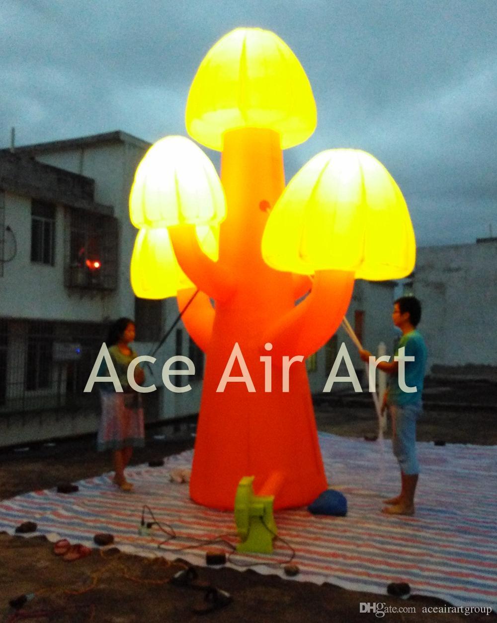árvore de cogumelo inflável gigante incrível para festa / evento com luzes 4mH