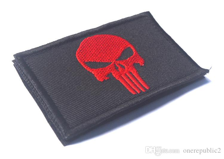 Punisher Skull USA Army US MTactical Morale Black Patch Army USA Badges Embroidered Patches Stickers free ship 389