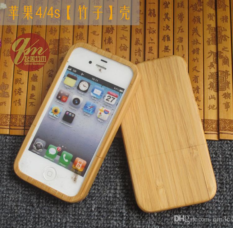 Cas En Bois À La Main Dorigine Pour Apple Iphone 4 4 s Réel Bambou Logement De Téléphone Couverture En Bois Pour Iphone 5 5C 5s Coque Arrière ...
