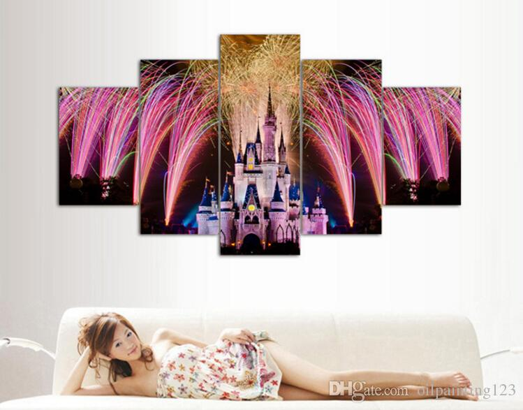 Framed Printed Castle picture painting wall art room decor poster canvas Decor For Living Room