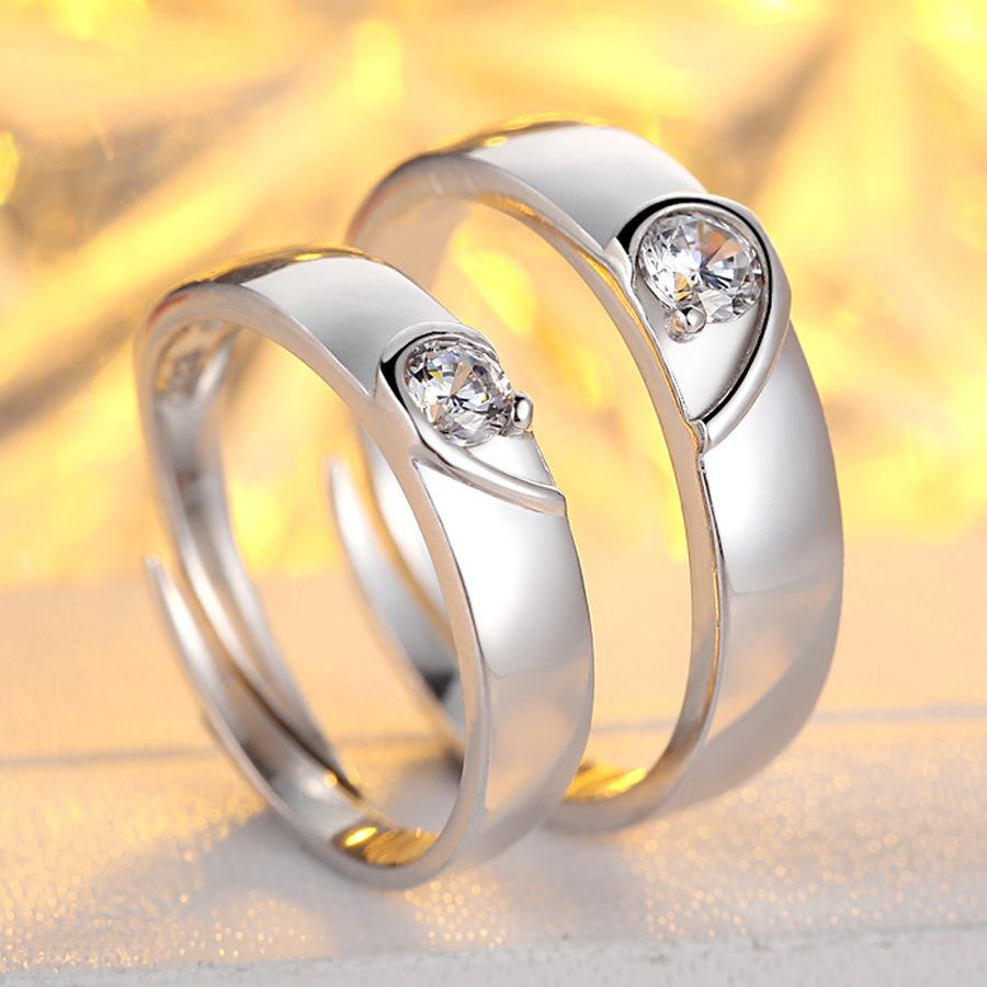 2017 Sweet Couple Ring Sterling Silver Open Size Heart Shape Ring ...