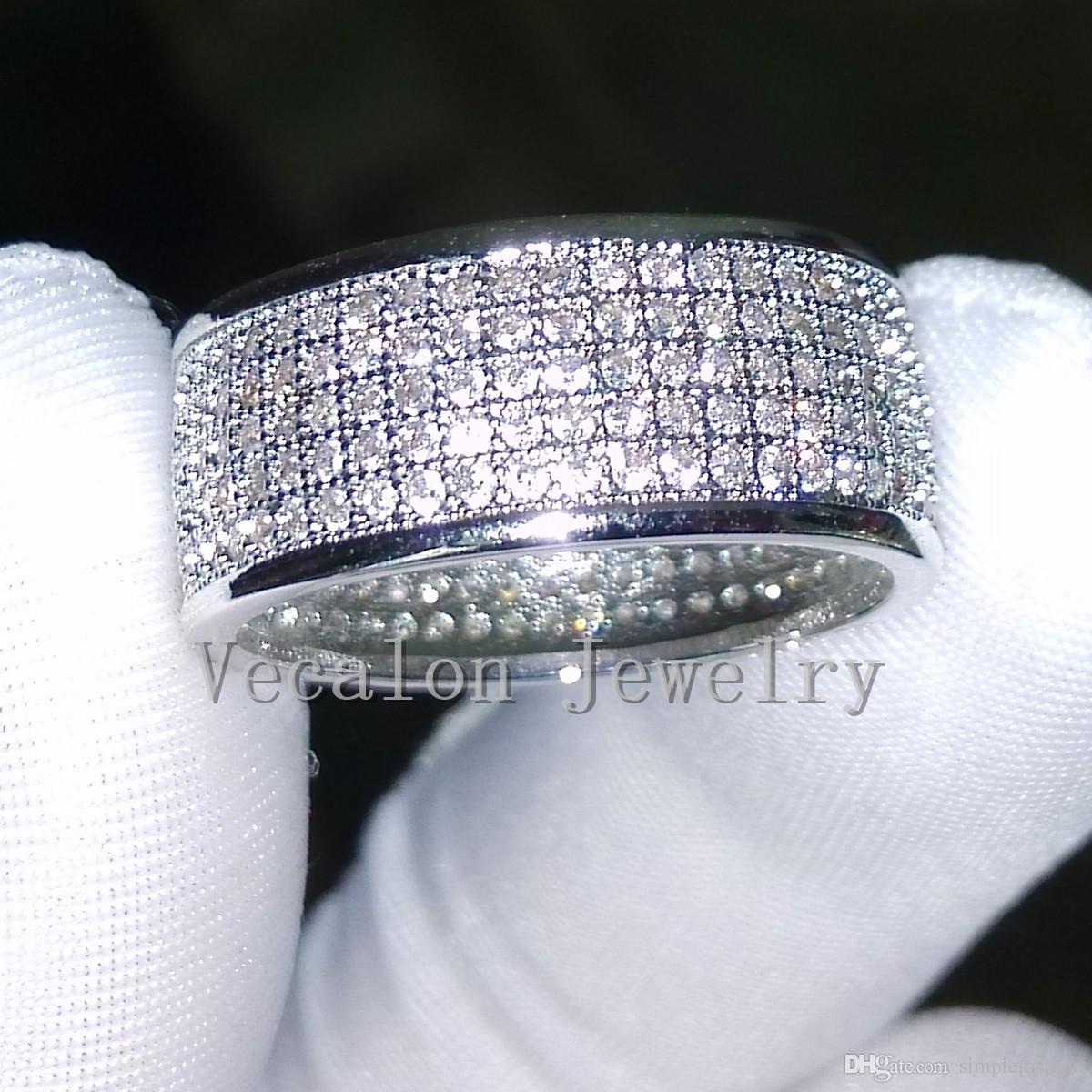 Vecalon 전체 시뮬레이션 된 다이아몬드 Cz 웨딩 밴드 반지 여성 10KT 화이트 골드 채워진 여성 약혼 밴드 Sz 5-11