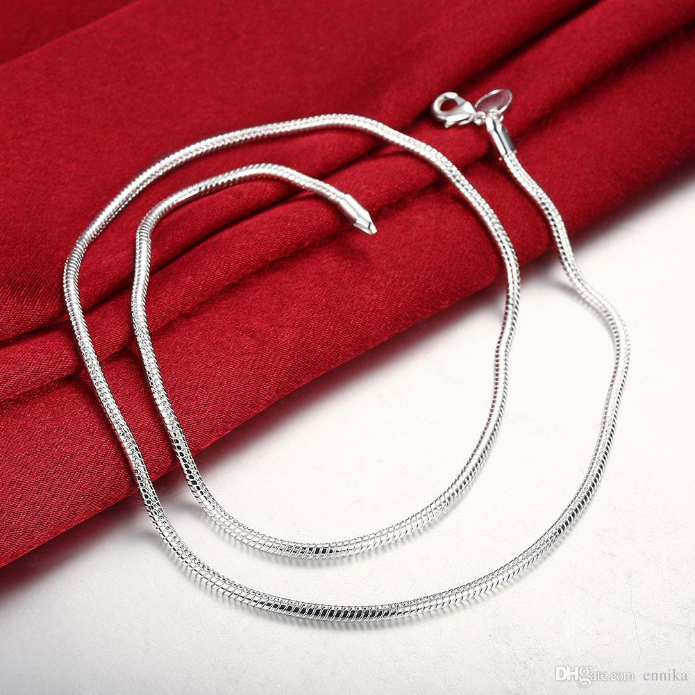 925 Sterling Silver Snake Chains 18inch 3mm Jewelry Snake Unisex Necklace/Chain Good Quality N192