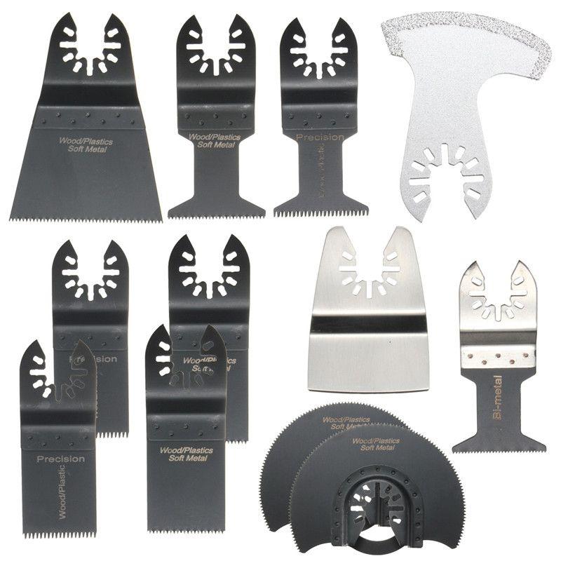12шт / Set Mix осциллирующий инструмент Saw Blades аксессуары для Металл Дерево Мягче пластмассы Гипсокартон Стекловолокно камень Керамическая плитка и т.д.