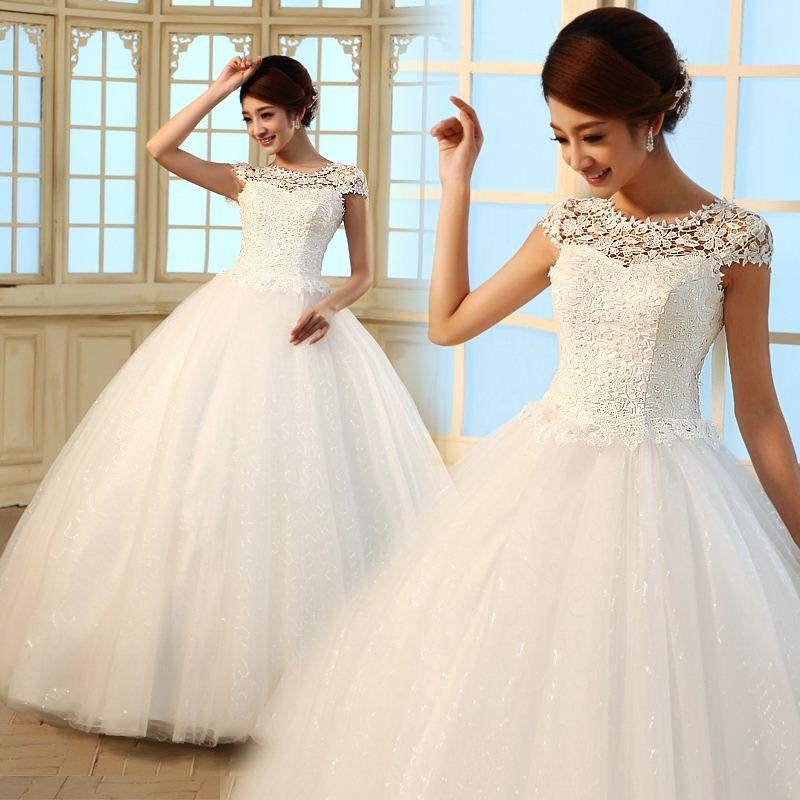 2016 New Slim Bride Vintage Lace Wedding Dress Bridal Gown Vestido ...