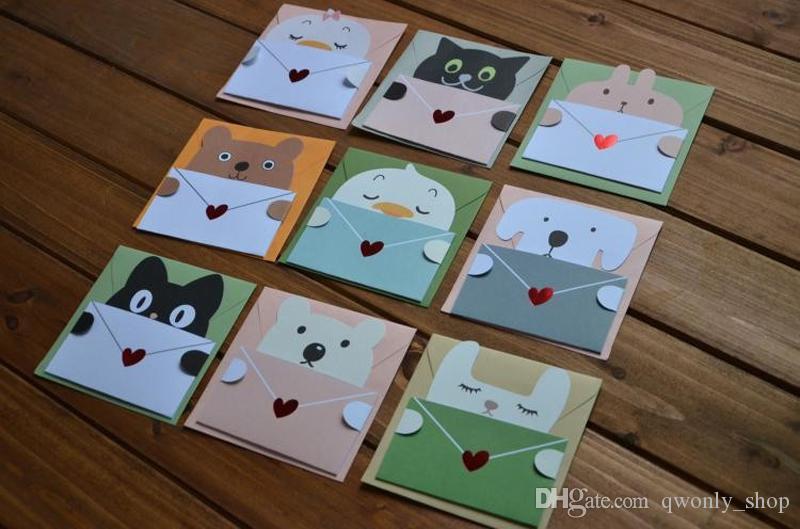9 styles Cartoon Animal Envelope Message Card Thank Card Baby Birthday Invitations Greeting Card Holiday Cards Universal Sheet