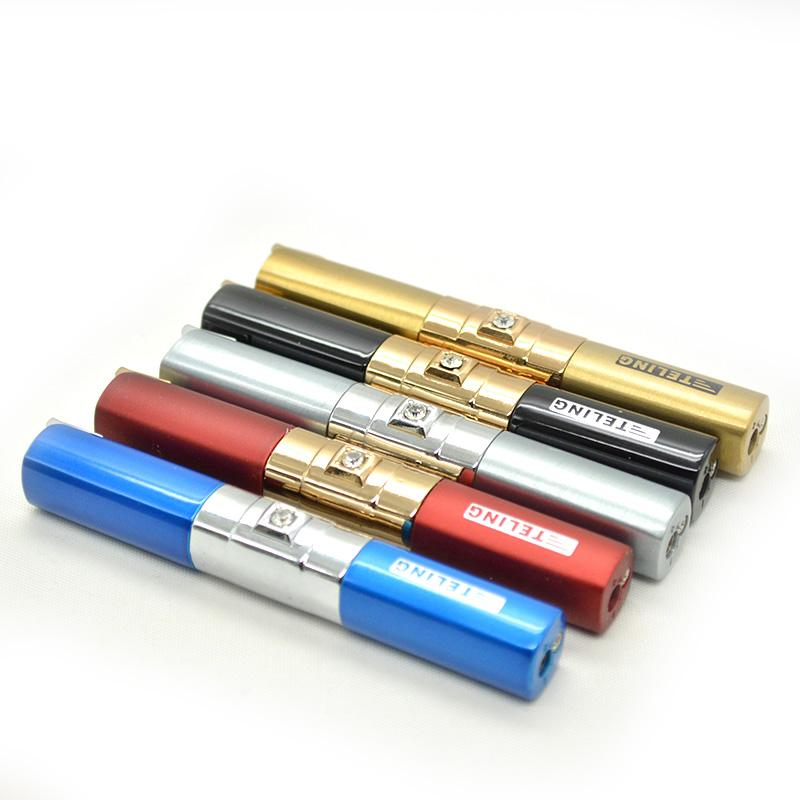 new lighters four-column color diamond Ladies long slender flame lighter gas lighter torch jet lighter