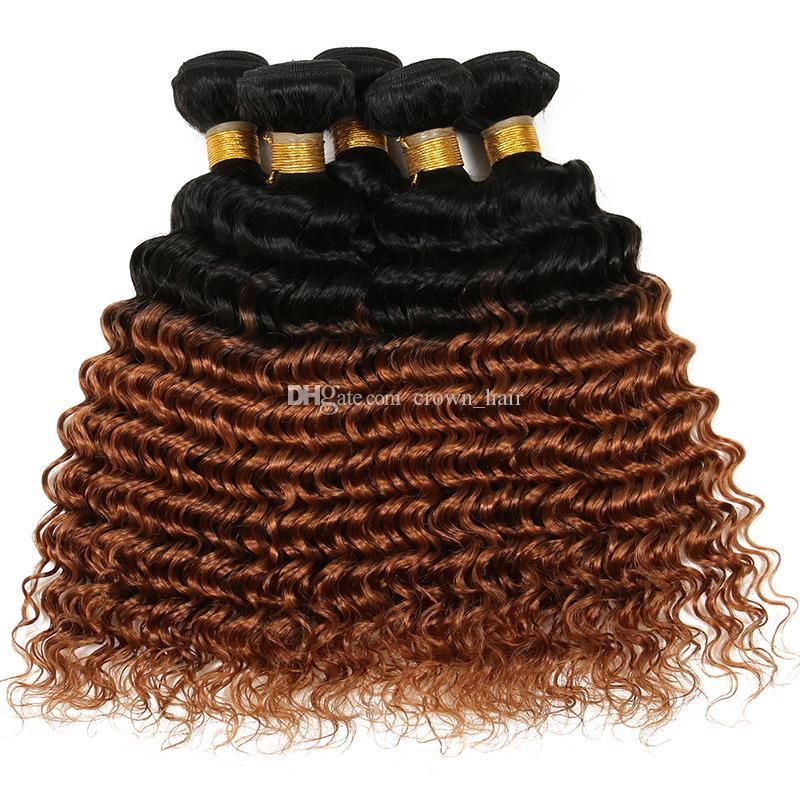 Ucuz Orice Bal Sarışın Saç Demetleri Derin Kıvırcık Saç Örgüleri 3 Adet / grup # 1B / 30 Genç Kız Için Iki Ton Saç Uzantıları