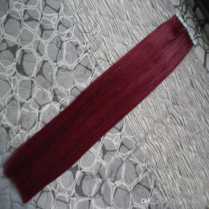 #99J Red Wine Brazilian Virgin Hair full shine tape in extensions 6A 100g Straight tape in hair extensions remy