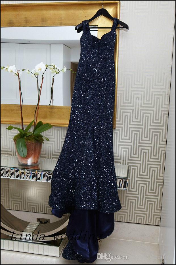 Frete Grátis Kate Ritchie Vestidos de Noite Do Vintage Azul Marinho Sem Mangas Sexy Lantejoulas Até O Chão Formal Especial Longos Vestidos de Noite