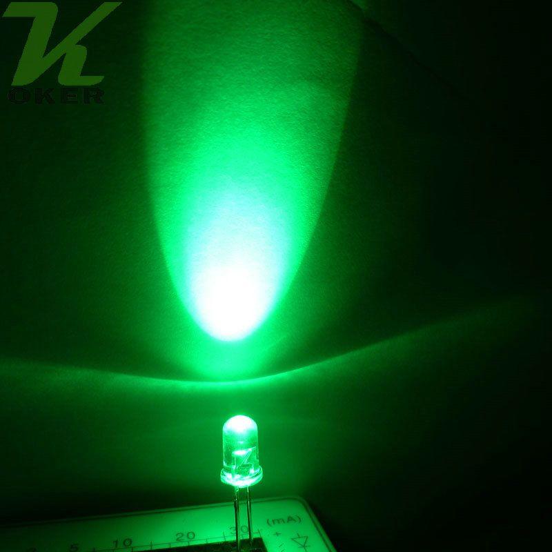 5mm 옥 녹색 둥근 물 명확한 LED 조명 램프 방출 다이오드 울트라 밝은 비드 플러그인 DIY 키트 연습 광각