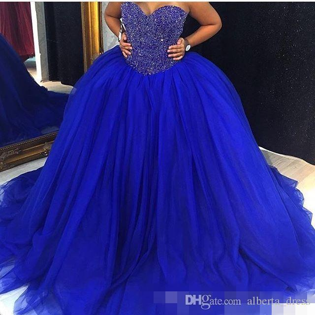 2017 New Cheap Royal Blue Puffy Tulle Ball Gown Wedding Dresses Bridal Gowns Sweetheart Crystal Beaded Plus Size Quinceanera Dresses Custom Wedding