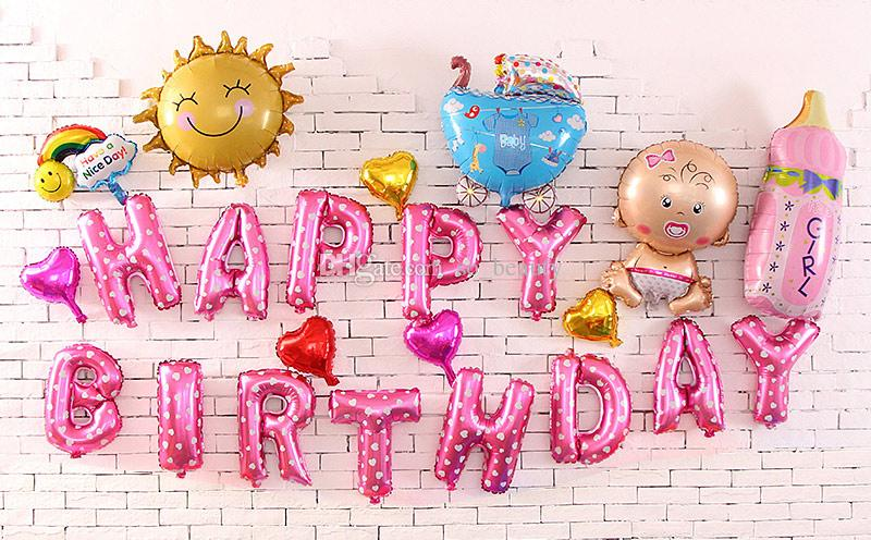 HAPPY BIRTHDAY Cute Foil Helium Letters Balloon Anniversary Decor New 3 Styles For Choose Wedding Decorations Supplies Western From So Beauty