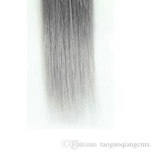 Brezilyalı Saç Bakire 3 adet ucuz çin saç ombre örgü uzatma atkı atkı 1B / gri Remy Işlenmemiş 8-30 inç Hint saç düz