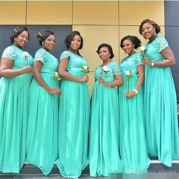 Nigeria African Mint Green Cheap Bridesmaid Dresses Lace Applique Sheer Jewel Neck Evening Dresses Chiffon Prom Dress Formal Gown