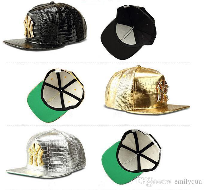 Neue Kunstleder Sterne logo Einstellbare Hysteresenhut Baseballkappen Diamant Gold Krokodilkorn Zurückschnappen Hut Männer Frauen Sport DJ Hiphop Hüte