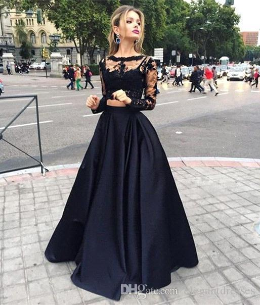 Hot Sale Black Cheap Two Pieces Prom Dresses Long With Sleeves A Line Sexy Crew lace Evening Dresses