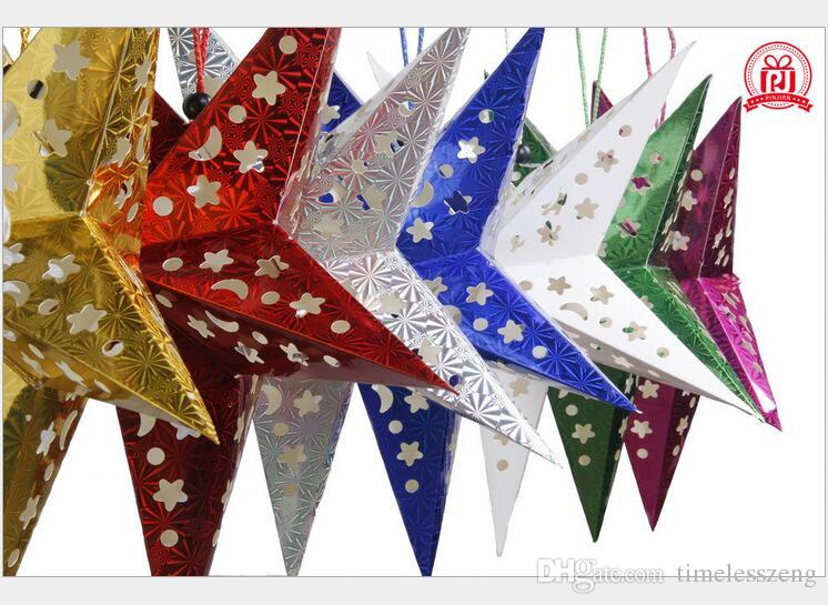 2016 Christmas paper pentagram laser 10piece=1 set more color more size christmas wedding decoration the ceiling hotel store decoration star