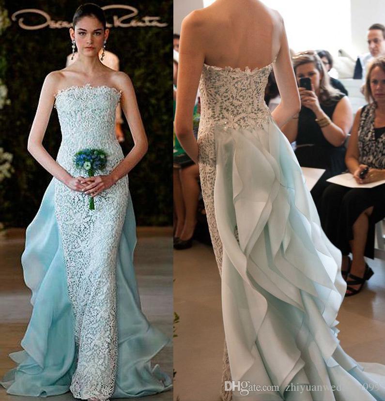 Light Blue Wedding Dresses Ruffle Back 2017 Oscar De La Renta ...