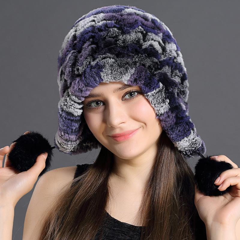 fde6fadb57081 Women Genuine Knitted Rex Rabbit Fur Hats Russian Hat Ushanka Natural  Stripe Rex Rabbit Fur Caps Lady Winter Warm Head Wear Free Caps Cap From  Hadlook