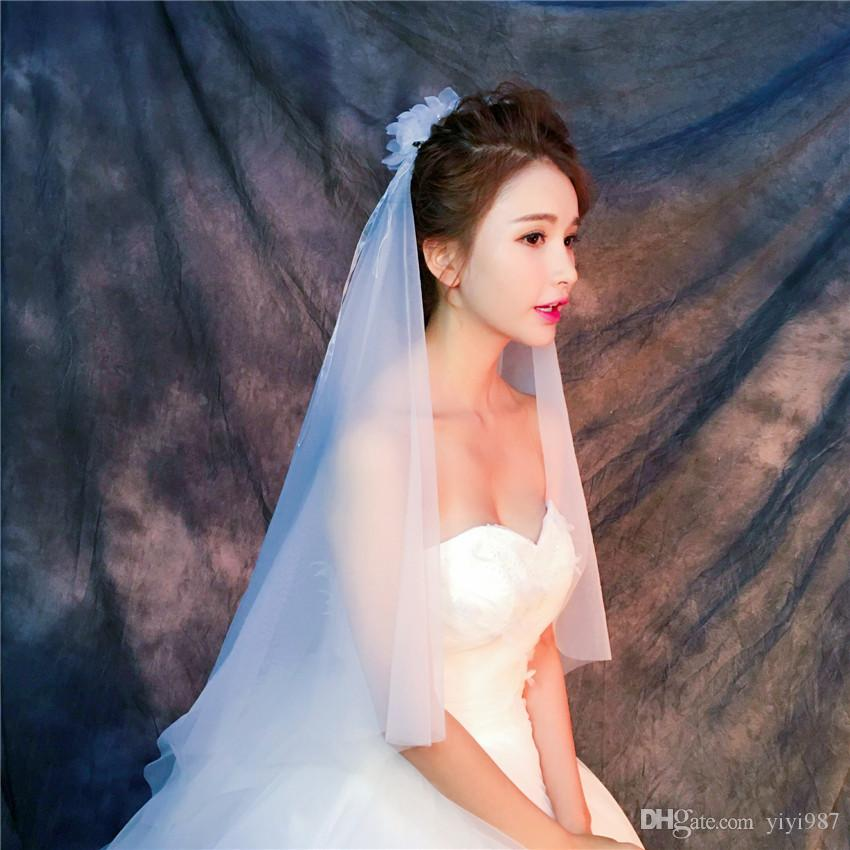Wholesale Veils In China Real sample pictures Purple White Veils for Wedding Ivory Tulle Fast out