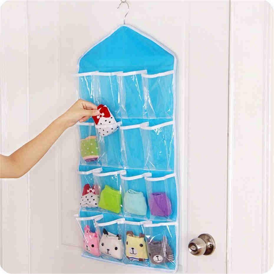 16 pockets foldable wardrobe socks organizer clothing hanging bags hanger closet storage bag