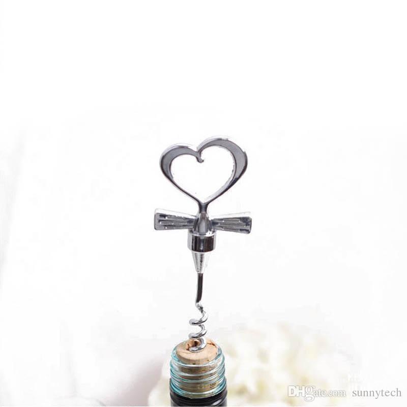 Love Heart Corkscrew Bottle Opener Set Red Wine Bottle Stopper Twist Wedding Decor Groomsman Return Party Favors ZA1143