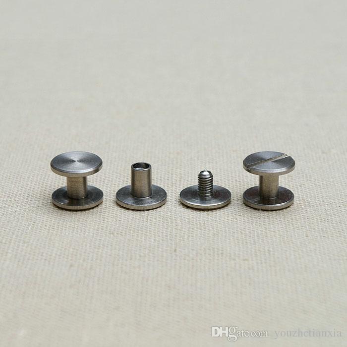 Chicago flat style stainless steel screw wallet bag belt Rivet diy handmade leather garment hardware part fastener