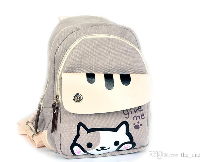 Süße japanische Spiel Neko Atsume Katze Hinterhof Druck Rucksack Frauen Schultaschen für Teenager Mädchen College Style Casual Rucksack auf Lager