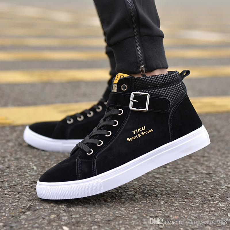 2017 Men Flock Casual Shoes Korean Fashion Style Winter Autumn Flats Shoes  Men Lace-Up High Top Shoes Male Street Buckle Boots Men Flock Leather Casual  ...