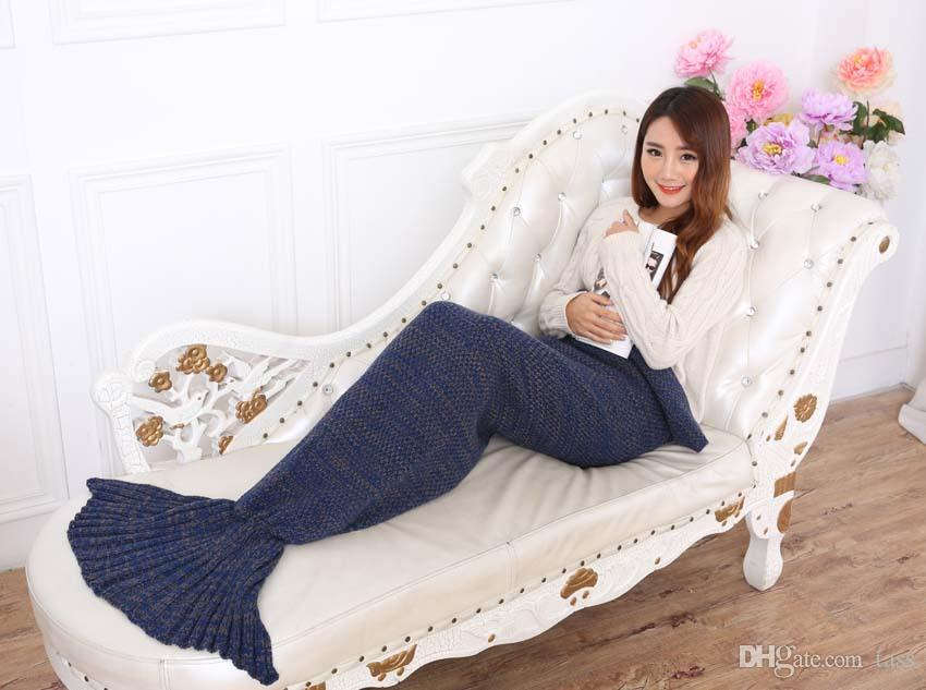 Crochet Mermaid Tail Blanket Super Soft Warmer Blanket Bed Sleeping Costume Air-condition Knit Blanket