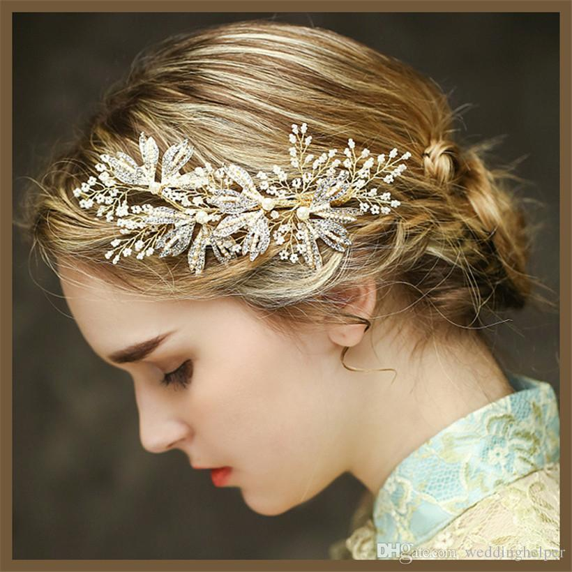 Wedding Hairstyles With Jewels: Vintage Wedding Headpiece Gold Hair Accessories Bridal