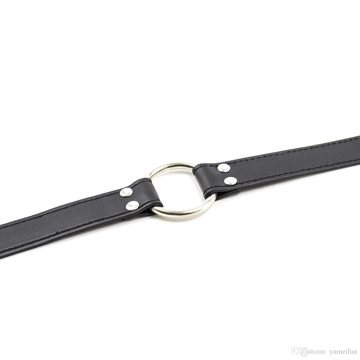 Faux Leather Steel O Ring Gag Restraint for Sex Bondage Fetish Adult Roleplay Game Deep Throat