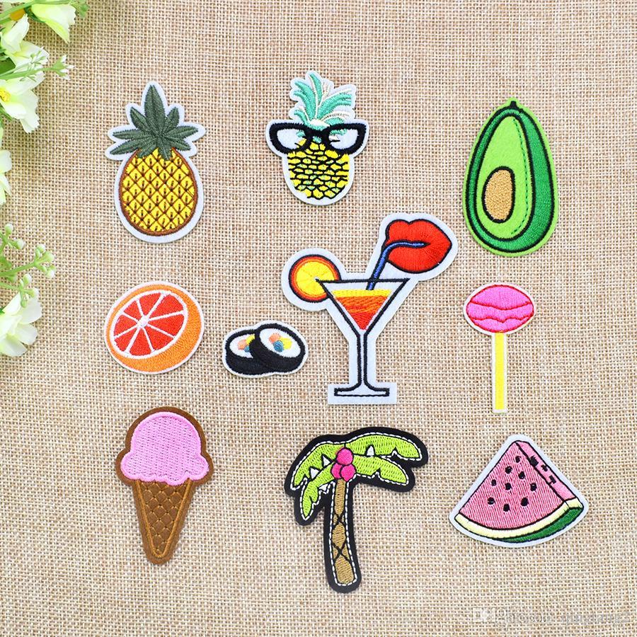 10 STÜCKE Heißer Verkauf Stickerei Patches Applique Eisen auf Obst Lebensmittel Getränke Patches für Kleidung Bügelbild Transfer Patch für Jeans Taschen DIY