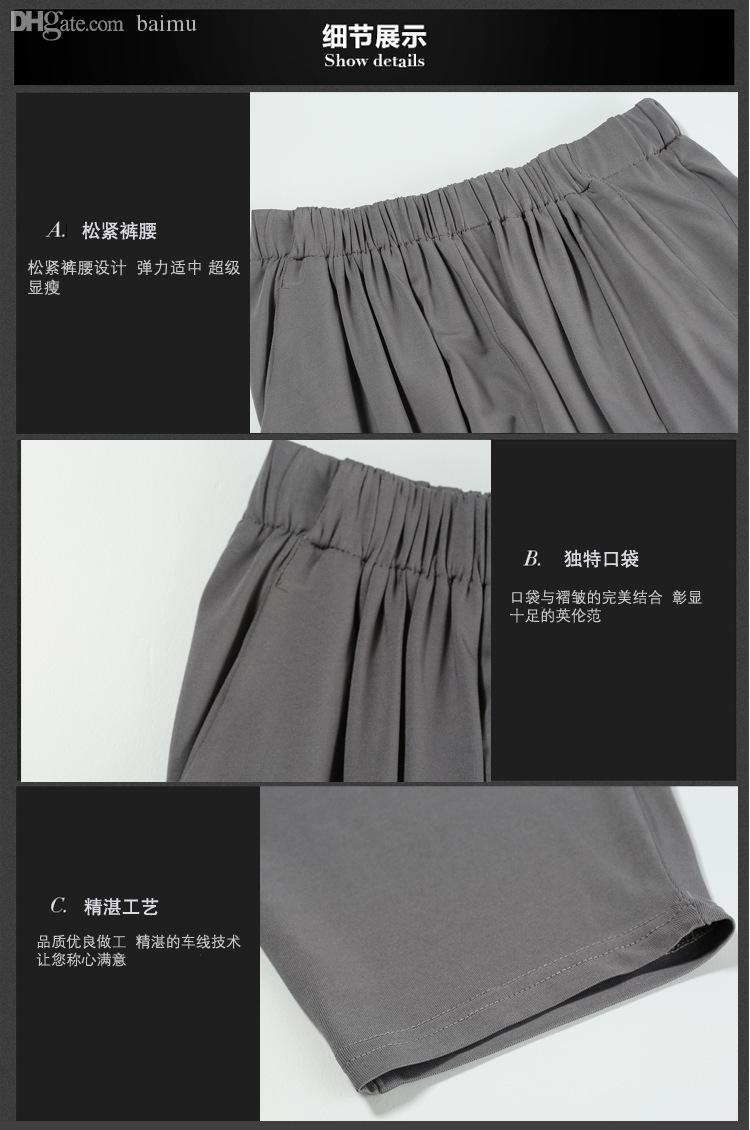 7924a343af46d9 2019 Wholesale Plus Size Cropped Harem Pants Women Pleasted With Pockets  Elastic Waist Black Grey Casual Capris 2016 Summer L 5XL From Piterr, ...