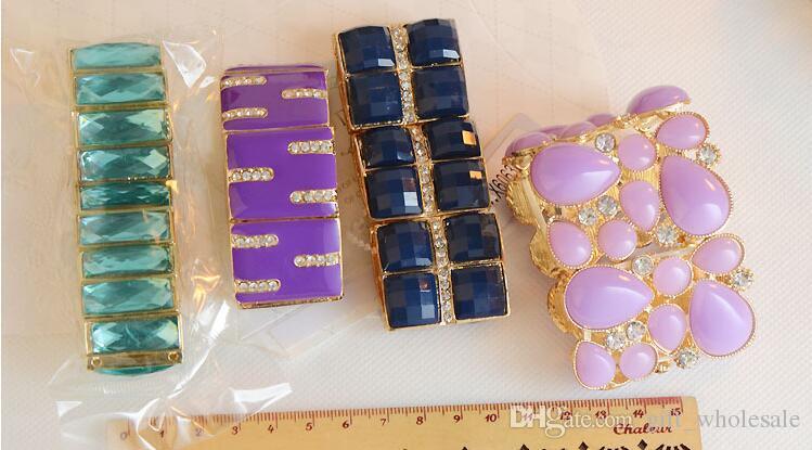 Molti stili mescolano il colore della caramella gelatina di colori acrilici strass resina sfaccettatura e lega oro decorazione geometrica perline donne Bracciale elastico