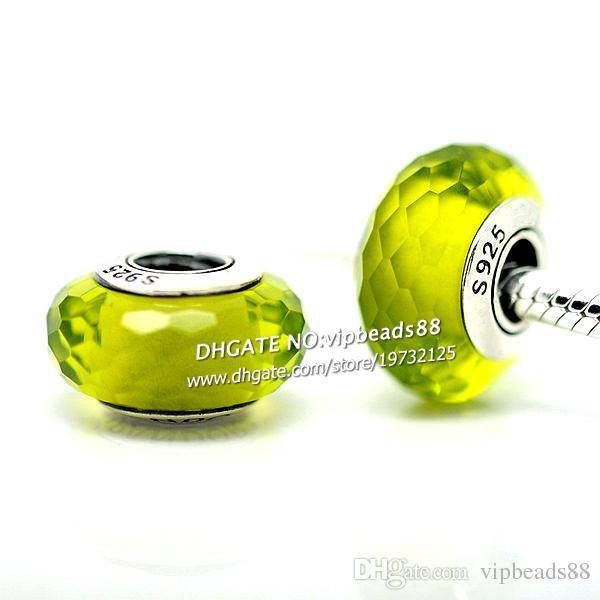 S925 gioielli moda in argento sterling verde mela perline di vetro di murano sfaccettato adatto europeo fai da te pandora collana di braccialetti di fascino
