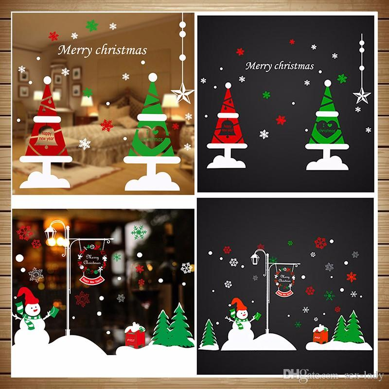 Christmas Window Decals.16 Styles 50 70cm Christmas Window Stickers Vinyl Diy Star Snow Angel Wall Decals For Family Mutfak Duvar Room Shop Decoration Toy Donations For