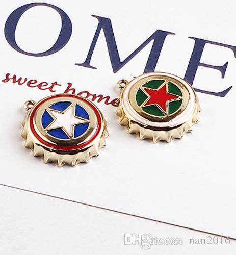 Enameled star bottle cap charm pendant, bracelet necklace charm , jewelry findings