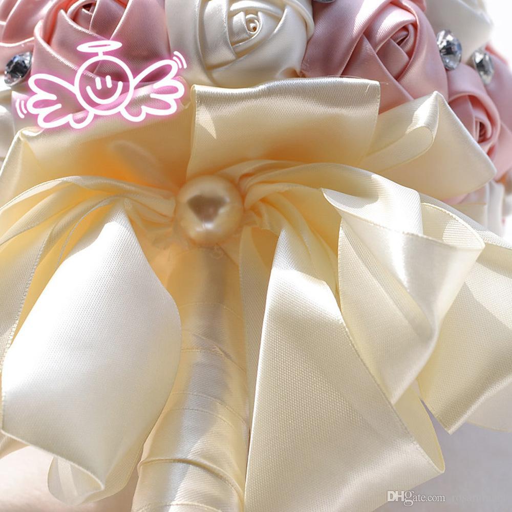Yeni Zarif Sıcak Satış Düğün Buketleri Inciler Kristal Nedime Yapay Saten Gül Çiçekler Romantik Gelin Buketleri