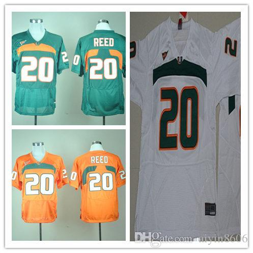 bd984b0c7 ... 2017 New Men Miami Hurricanes 20 Ed Reed Jersey Green White Orange Mens  College Football Jerseys ...
