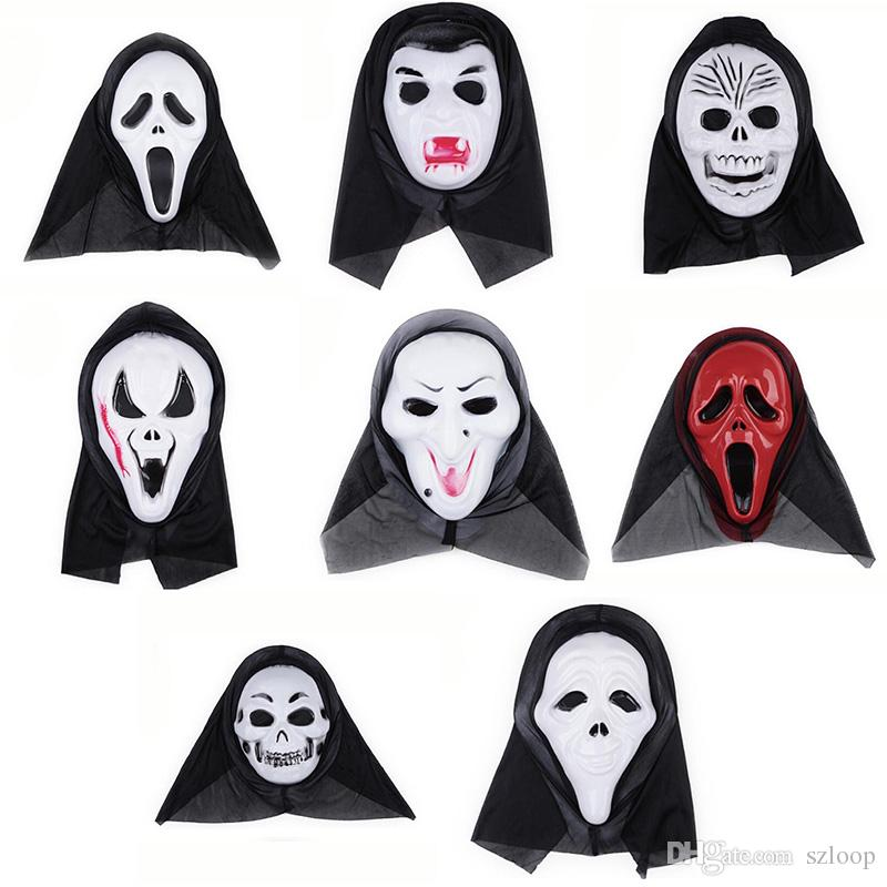Halloween Costume Party Long Face Skull Ghost Scary Scream Mask ...