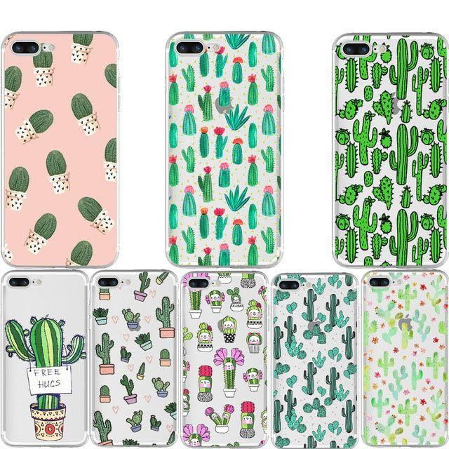 more photos 366da fd25c Mode Cactus Case pour iPhone X 10 8 7 6 6 s Plus 5 S 5 S Galaxy S8 Plus  Doux Clair transparent TPU cas