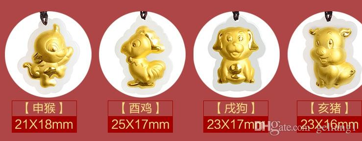 Altın kakma yeşim muska takımyıldızı kolye ve kolye karikatür domuz