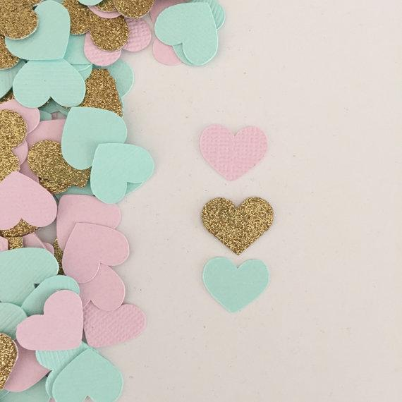 Heart Confetti Blush Pink Gold Glitter Mint Green Aqua Double