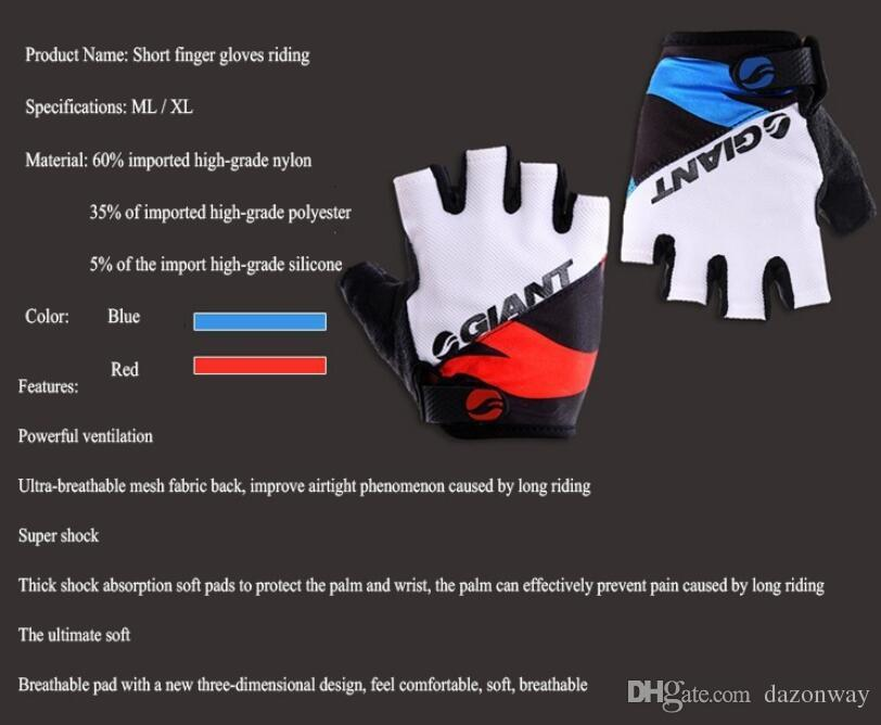 Giant Mezza Finger Uomo Donna Guanti da ciclismo Slip bici mtb / bicicletta guantes estate traspirante ciclismo racing luvas sport